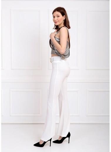 Sense Kemerli Örme Kumaş İspanyol Paça Pantolon Beyaz